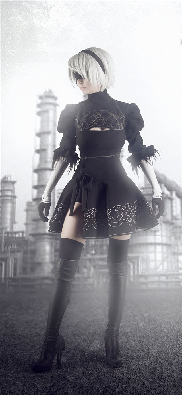 nier automata monochrome iPhone 11 wallpaper