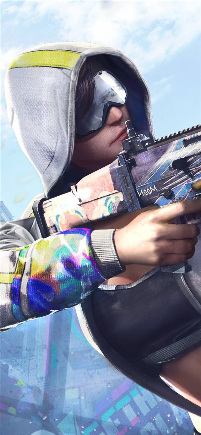 pubg girl with gun iPhone X wallpaper