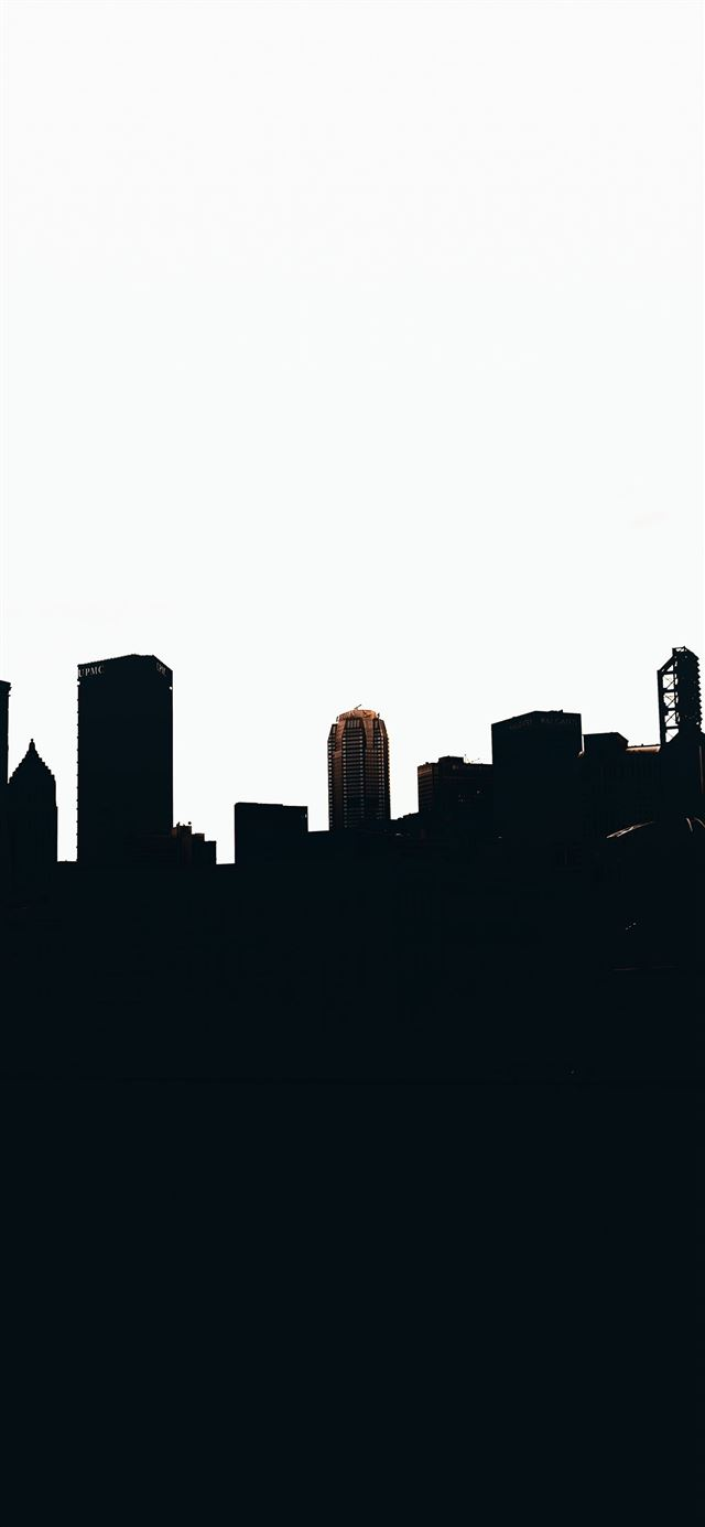 silhouette of city buildings during daytime iPhone X wallpaper