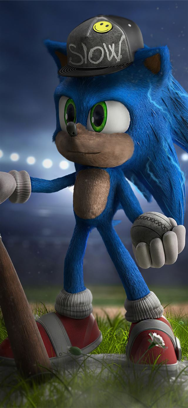 sonic the hedgehog playing baseball iPhone 11 wallpaper