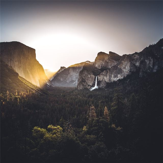 waterfall light flare nature outdoors yosemite 5k iPad Pro wallpaper