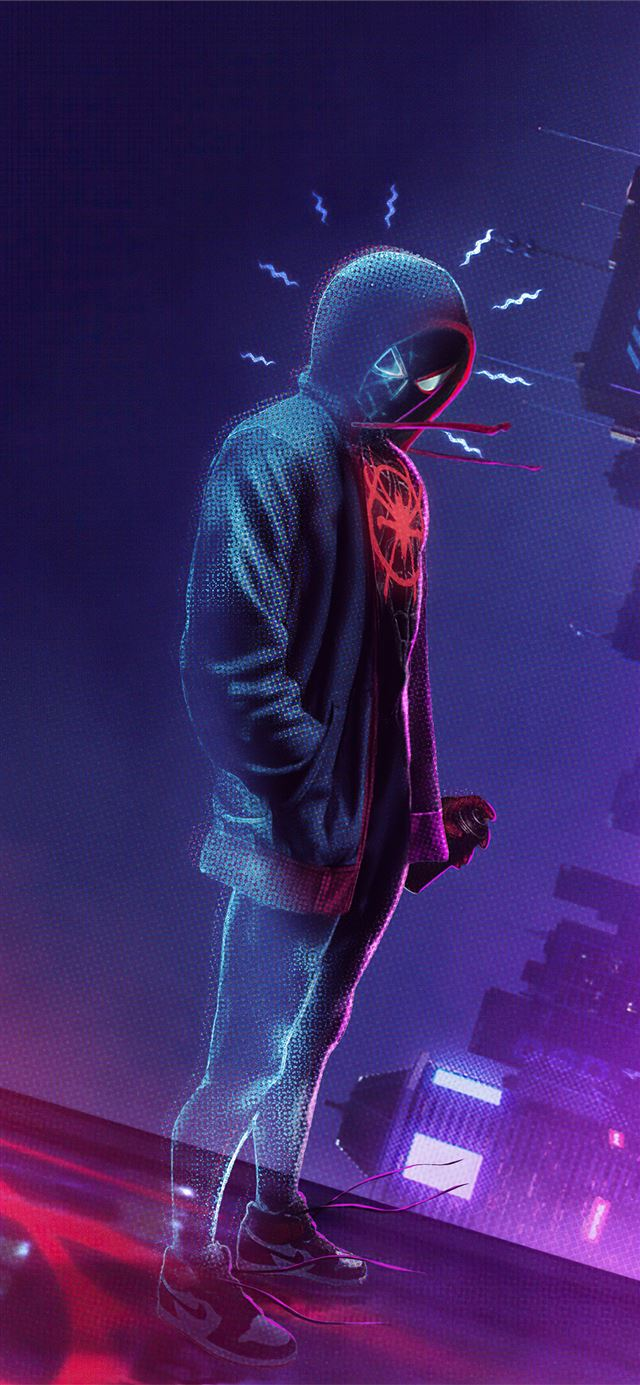 spider man miles morales noise iPhone X wallpaper
