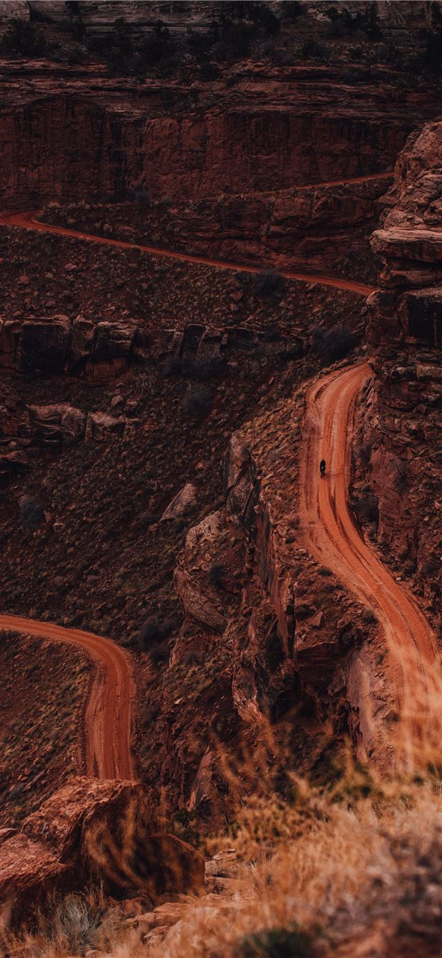 aerial view of brown rocky mountain iPhone 11 wallpaper