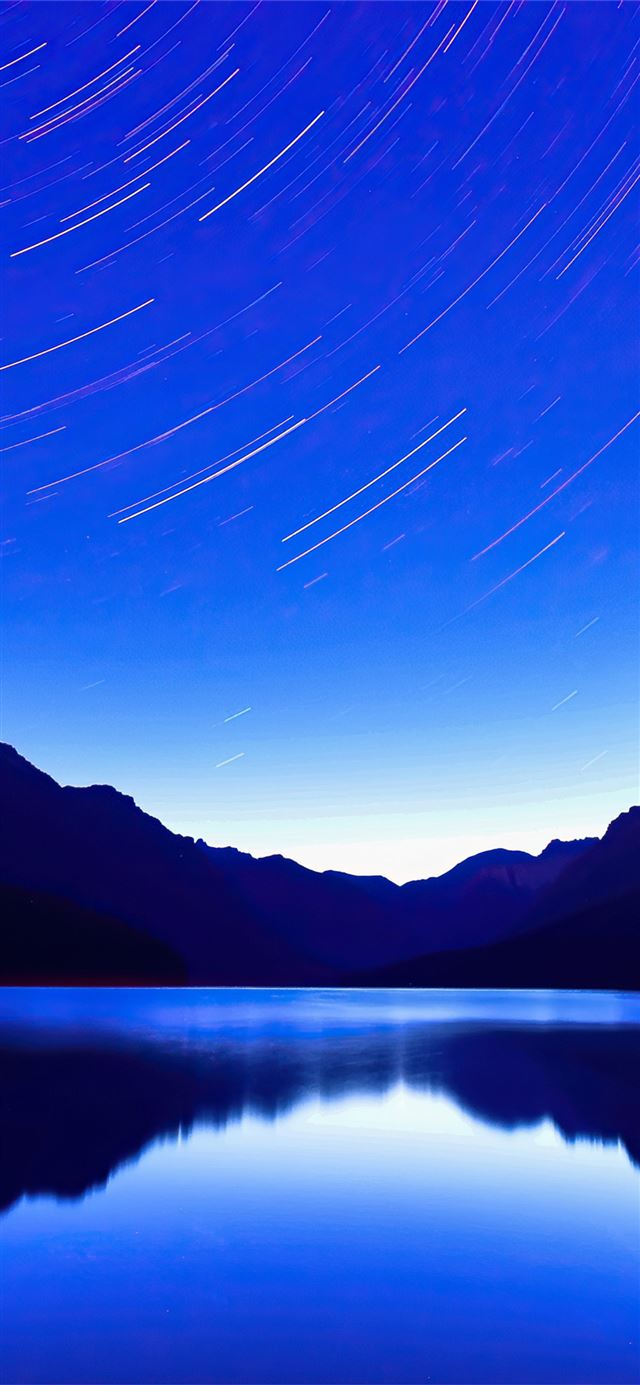 blue lake star trails 4k iPhone 11 wallpaper