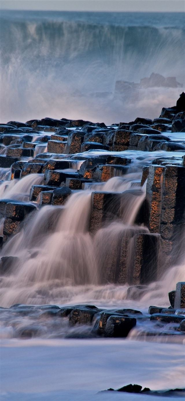 rocks waterfall iPhone X wallpaper