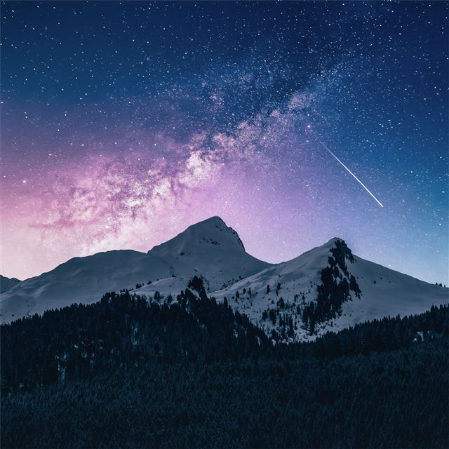 landscape outdoor mountains galaxy 4k iPad Pro wallpaper