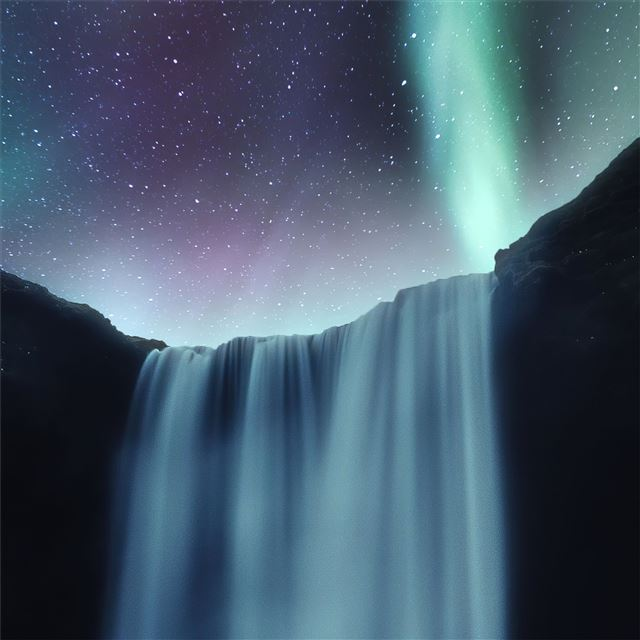 waterfall aurora northern lights 4k iPad wallpaper
