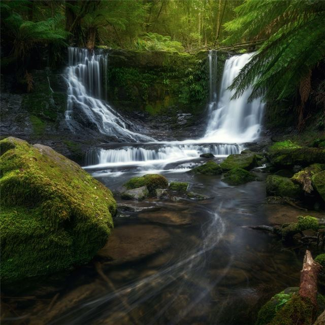 waterfalls stones 5k iPad wallpaper